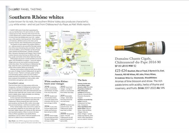 DECANTER AUGUST 2017 - SOUTHERN RHONE WHITES - CHANTE CIGALE