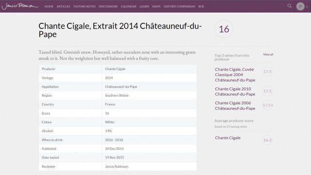CHANTE CIGALE EXTRAIT BLANC 2014 - 16 JANCIS