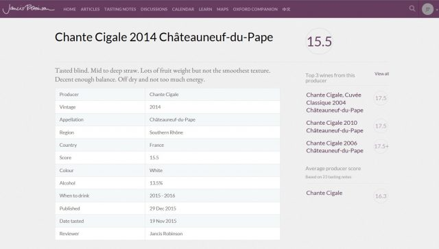 CHANTE CIGALE TRADITION BLANC 2014 - 15.5 JANCIS