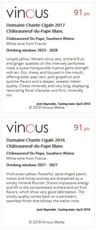 DOMAINE CHANTE CIGALE - WHITE 2016 91 + WHITE 2017 91 - VINOUS - OCT 2018